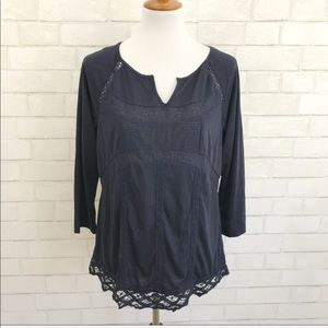 Stitch fix Skies are Blue navy crochet detail top